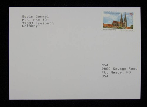 The front of the typewritten postcard to the NSA.