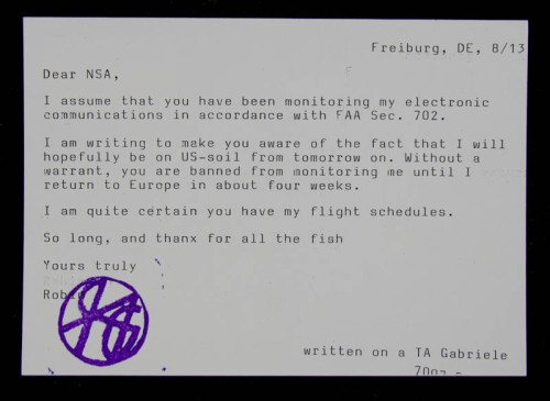 The back of the typewritten postcard to the NSA.