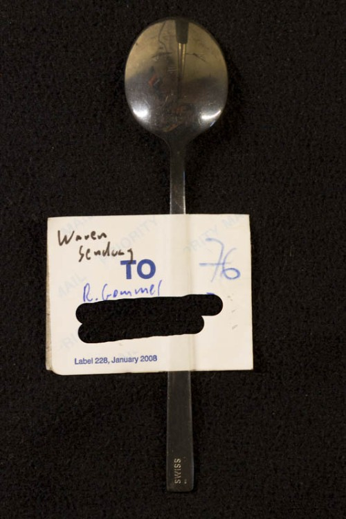 Swiss Air teaspoon as postcard